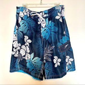 Men's Blue Hawaiian Print Speedo Board Shorts Sz L